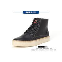 Dickies秋季新款男士高帮鞋男韩版潮流真皮鞋子高帮皮鞋男休闲鞋161XG12AP02