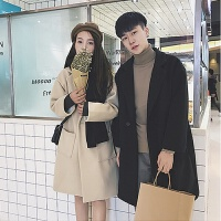 秋冬季韩版中长款风衣男女宽松毛呢子大衣情侣装加绒加厚休闲外套