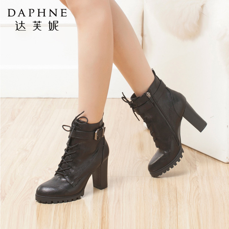 Daphne/达芙妮欧美时尚粗高跟皮带扣系带女短靴年末清仓,售罄不补货!