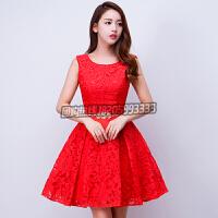 2016新款夏季新娘敬酒服短款红色结婚订婚晚礼服连衣裙修身显瘦女