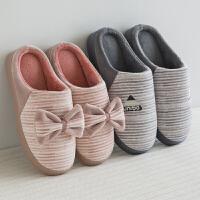 棉拖鞋女居家室内防滑厚底冬季韩版蝴蝶结保暖加绒情侣毛拖鞋冬天