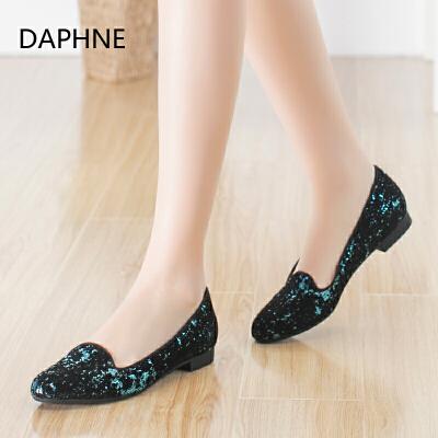 Daphne/达芙妮时尚舒适圆头亮片中口套脚纯色方跟单鞋年末清仓,售罄不补货!