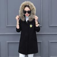 加绒中长款棉衣女学生冬装新款羊羔毛学院风宽松冬季外套