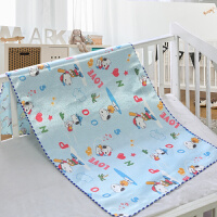 冰丝凉席隔尿垫婴儿防水透气可洗新生儿宝宝双面床垫夏季薄款 浅蓝色 蓝努比双面可用 中号 90*120(送同尺寸)