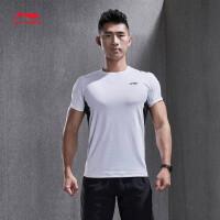 李宁短袖T恤男士新款训练系列圆领修身上衣男装夏季运动服ATSN037