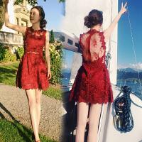 夏季名媛气质性感露背小礼服短裙重工勾花镂空红色蕾丝修身连衣裙 酒红色