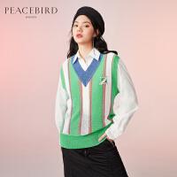 太平鸟撞色V领毛针织衫背心2020春季新款绿色竖条纹街潮搭配单品