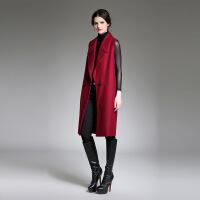 欧美女装欧洲站时尚秋季新款女无袖宽松加长款风衣大衣0674 酒红色