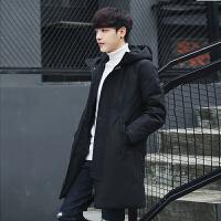 冬季新款中长款羽绒服男韩版潮流连帽加厚外套青年保暖大衣男 黑色 M