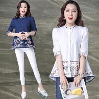 刺绣五分袖衬衫女装夏秋季新款大码宽松民族风上衣