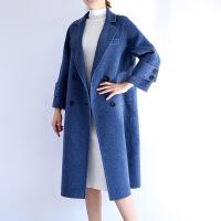 冬季新款女装气质阿尔巴卡羊驼绒羊毛呢大衣风衣外套长款