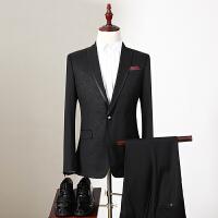 Q.男装 2017冬装新款修身一粒扣外套直筒休闲裤折扣男士西服套装