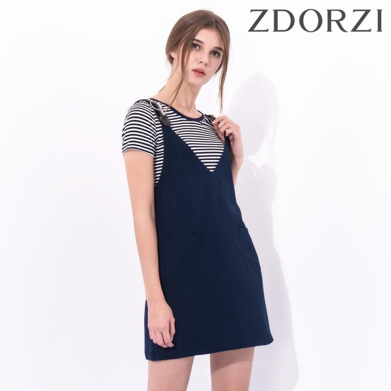 卓多姿夏装新款V领条纹背带两件套连衣裙734313