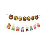 宝宝周岁生日布置用品儿童生日派对装饰创意小猪拉旗美国队长挂饰
