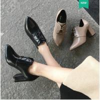 古奇天伦韩版春季新款尖头单鞋英伦风皮鞋黑色高跟鞋粗跟早春女鞋百搭HY05068
