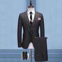 西服套装男士韩版休闲修身小西装新郎结婚伴郎婚礼上衣条纹三件套