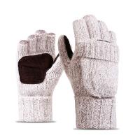 毛线针织手套半指翻盖男女冬季韩版羊毛加绒加厚真皮保暖户外骑行 D-Z07 米色 均码