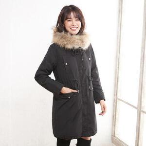 高梵时尚毛领羽绒服女中长款2017新款休闲韩版外套