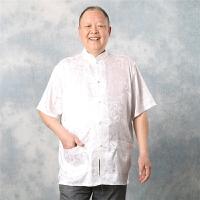 中老年男士夏季加肥加大码唐装短袖衬衫肥佬胖子老人桑蚕丝太极服