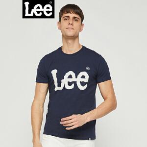 【彭于晏同款】Lee男装2018春夏新款深蓝色短袖T恤L300702LQ6RR