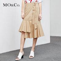 MOCO夏季新品中腰腰带镂空裙摆半身裙MA182SKT109 摩安珂