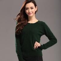 新款貂绒毛衣女套头纯色貂绒衫打底针织短款羊绒衫圆领羊毛衫