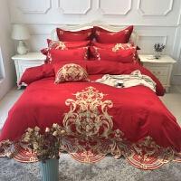 家纺60支贡缎提花长绒棉刺绣四件套大红色喜庆结婚纯棉床上用品多件套