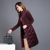 棉衣女中长款冬装中老年女装40岁50妈妈装金丝绒棉袄外套