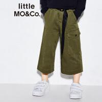 littlemoco春季新品儿童裤子中长款配腰带工装风休闲宽松裤子
