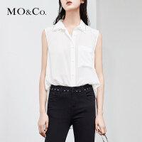 MOCO夏季新品翻领钉珠飘带真丝无袖上衣MA182SHT115 摩安珂