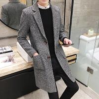 冬季男士风衣韩版修身毛呢大衣男中长款加棉加厚冬装男装呢子外套 F103灰色 M