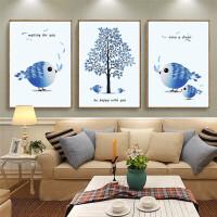 5D新款十字绣卧室客厅简约爱情鸟三联画非满绣印花卡通线绣