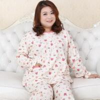 女士睡衣秋季长袖套头加肥加大码胖MM加肥加大码200斤家居服 粉红卡通 68058