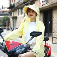 电动车晒衣摩托车全棉紫外线夏季女长袖连帽口罩中长款
