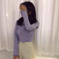 韩观秋季女装韩版糖果色坑条修身显瘦长袖T恤学生纯色卷边打底衫上衣 均码