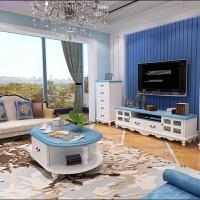 地中海蓝色电视柜茶几组合天蓝色简约电视柜小户型客厅家具视厅柜 茶几 酒柜 斗柜 组装