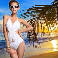 纯色性感露背遮肚露背连体女比基尼三角泳衣修身显瘦 度假BIKINI