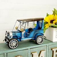 ????美式复古家居装饰品小摆件客厅电视柜酒柜书架摆设铁皮老爷车模型 蓝色 20*9.5*13.5