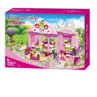 儿童女孩拼组装3-6周岁兼容乐高积木玩具5-7-8岁雪糕冰淇淋车 019邦尼的果汁小店(317片积木) 含2人偶+赠