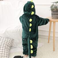 儿童绿恐龙衣服宝宝卡通连体睡衣女童秋冬可爱动物珊瑚法兰绒男孩
