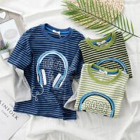 男童长袖t恤儿童纯棉耳机衣服打底衫圆领落肩假两件T恤