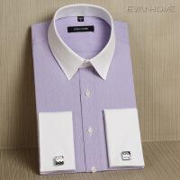 春秋季法式衬衫男士长袖 纯棉免烫浅紫色袖扣衬衣修身款 紫色白领EF04