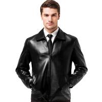 男士真皮皮衣海宁高端轻奢男装大整块皮纯绵羊皮男式皮夹克秋外套