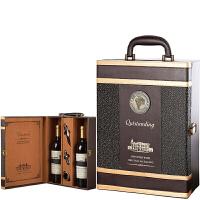 红酒皮盒红酒包装盒葡萄酒礼盒单双支红酒箱通用红酒盒子 龙爪纹双支大号 带酒具