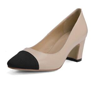 ELEISE美国艾蕾莎新品158-E417欧美头层牛皮真皮粗跟中高跟小香风女士单鞋