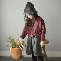 韩国童装秋冬款亲子装母女韩版女童格子外套英伦儿童夹克开衫