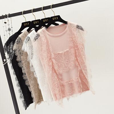 2018夏季新款蕾丝拼接薄无袖针织衫镂空冰丝打底外穿小背心上衣女