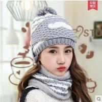 清新可爱毛球加绒毛线护耳帽帽子女士韩版针织毛线帽休闲百搭口罩围脖