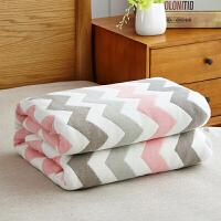 SNS 夏季六层毛巾被纯棉纱布单人双人盖毯空调被婴儿童毛巾毯子 粉红色 水纹-粉色/六层