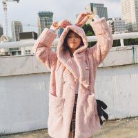 实拍 秋冬新款韩国可爱减龄仿兔毛加厚棉衣女仿皮草外套